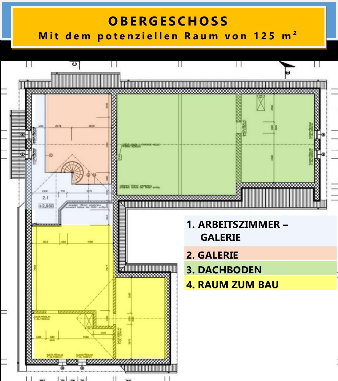 OBERGESCHOSS Mit dem potenziellen Raum von 125 m²